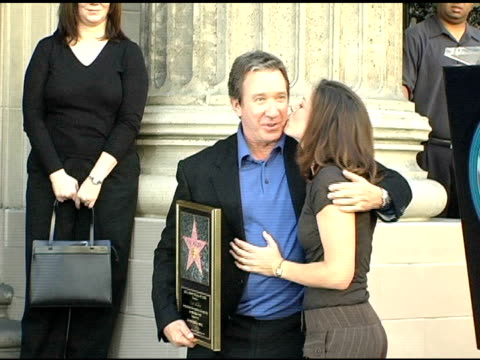 tim allen and jane hajduk at the dedication of tim allen's star on the 'hollywood walk of fame' at hollywood boulevard in hollywood california on... - tim allen stock videos and b-roll footage