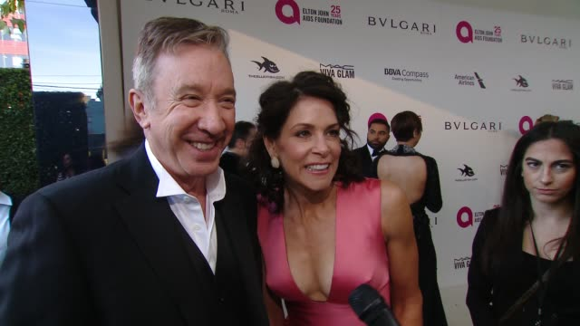 INTERVIEW Tim Allen and Jane Hajduk at the Elton John AIDS Foundation Presents the 26th Annual Academy Awards Viewing Party on March 04 2018 in West...