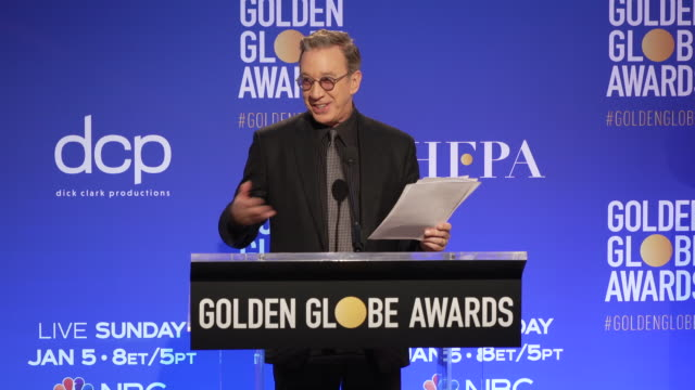 announcement tim allen announces the golden globe nominees at the 77th annual golden globe® nominations at the beverly hilton hotel on december 09... - ノミネート点の映像素材/bロール