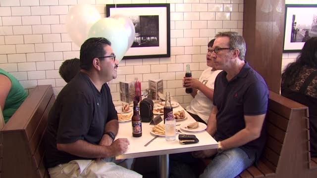 tim allen at the coney dog grand opening benefiting the midnight mission at west hollywood ca - tim allen stock videos and b-roll footage