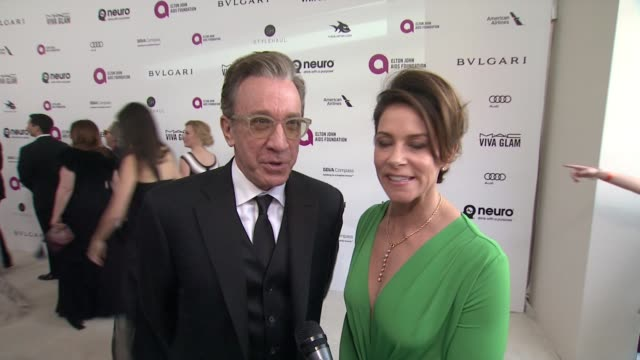 interview tim allen on his friendship with elton and food at the awards at elton john aids foundation presents 24th annual academy awards viewing... - tim allen stock videos and b-roll footage