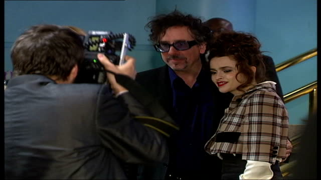 """tim burton and helena bonham carter attend 3d screening of """"the nightmare before xmas"""" at the london film festival; tim burton and wife helena... - film screening stock videos & royalty-free footage"""