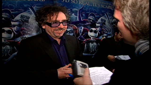 """tim burton and helena bonham carter attend 3d screening of """"the nightmare before xmas"""" at the london film festival; burton being introduced to... - film screening stock videos & royalty-free footage"""