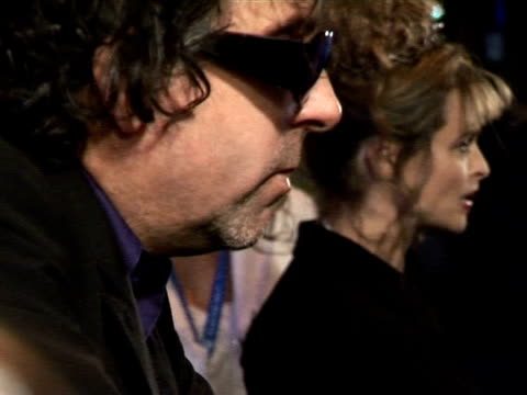 Tim Burton and Helena Bonham Carter being interviewd by the media at the 'Corpse Bride' London Premiere on October 17 2005