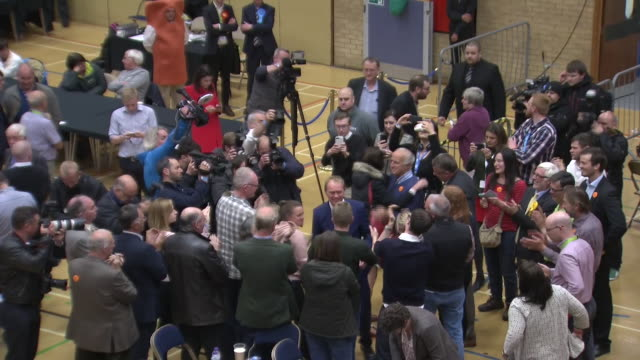 Tim Farron arriving at the count for his Westmorland constituency