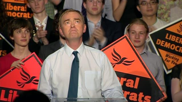 tim farron elected new liberal democrat leader speech farron speech sot - 英自由民主党点の映像素材/bロール