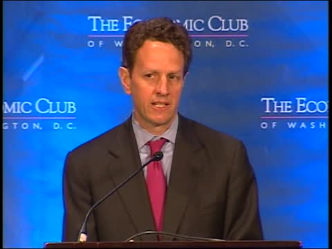 tim geithner speaks about global recession at the economic club of washington. - westernisation stock videos & royalty-free footage