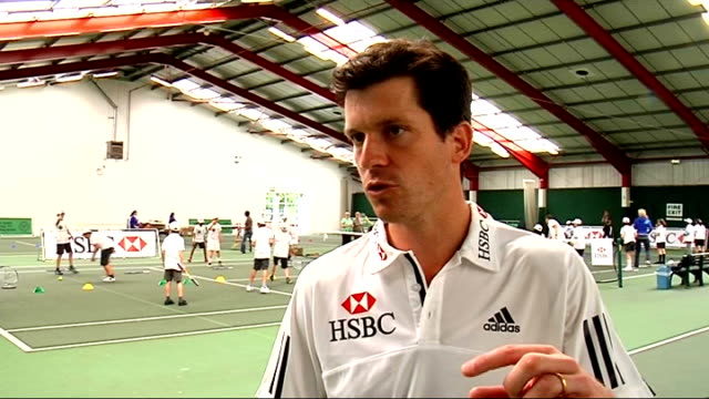 on Andy Murray ENGLAND London Islington Tennis Centre INT Tim Henman interview SOT Andy Murray has played phenomenally well in last year / Has beten...