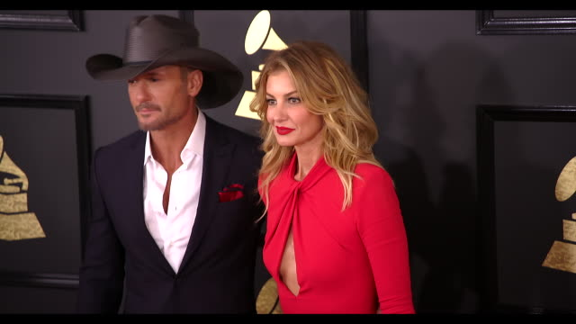 tim mcgraw and faith hill at 59th annual grammy awards arrivals at staples center on february 12 2017 in los angeles california 4k - tim mcgraw stock videos and b-roll footage