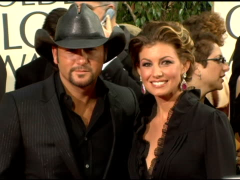 tim mcgraw and faith hill at the 2006 golden globe awards arrivals at the beverly hilton in beverly hills california on january 16 2006 - tim mcgraw stock videos and b-roll footage