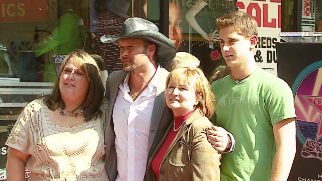 tim mcgraw sister sandy mom betty and nephew matthew at the dediction of tim mcgraw's star on the walk of fame at hollywood in hollywood california... - nephew stock videos and b-roll footage