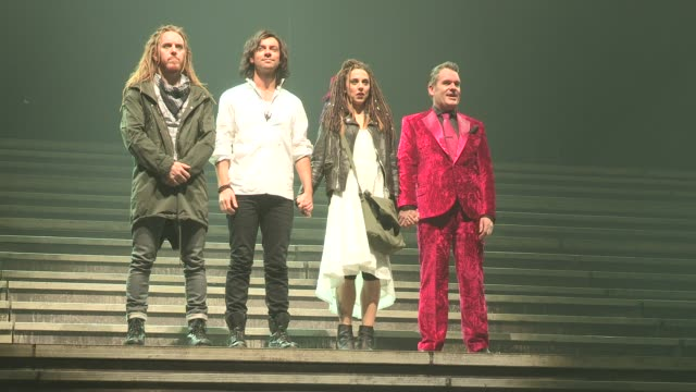 tim minchin as judas isacariot ben forster as jesus mel c as mary magdalene and chris moyles as king herod attend the photocall for 'jesus christ... - david minchin stock videos & royalty-free footage