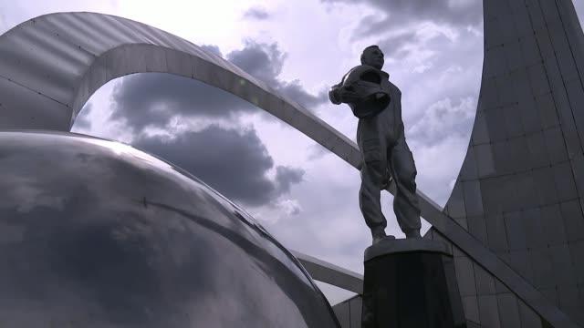 Tim Peake set to return to Earth KAZAKHSTAN Karaganda EXT Low angle shot Yuri Gagarin statue Closeup Yuri Gararin statue General view Yuri Gagarian...