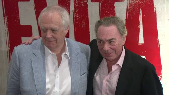 tim rice and andrew lloyd webber at 'evita' opening night at marriot marquis on april 05 2012 in new york new york - tim rice stock videos and b-roll footage