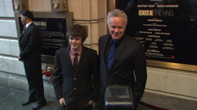 tim robbins and son miles robbins at the exit the king - broadway opening night - arrivals at new york ny. - tim robbins stock videos & royalty-free footage