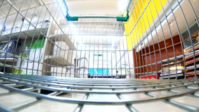 4k tima lapse : shopping cart view of grocery - hyper lapse stock videos & royalty-free footage