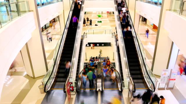 stockvideo's en b-roll-footage met hd timalapse: shopping mall pedestrian - hd format