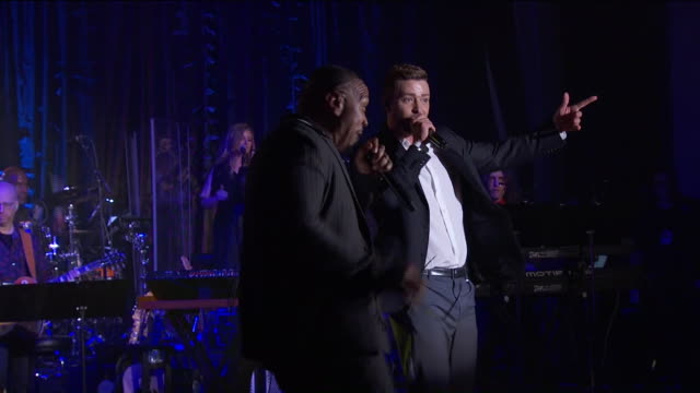 performances timbaland and justin timberlake at songwriter's hall of fame 2019 at mariott marquis on june 13 2019 in new york city - justin timberlake stock-videos und b-roll-filmmaterial