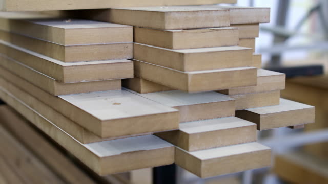 timber samples in woodworking shop - wood grain stock videos & royalty-free footage
