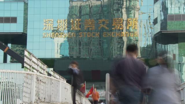 Time Altered shot of Shenzhen Stock Exchange building in Shenzhen China