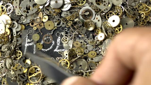時計じかけの部分を介して時間の概念 - 分析機器点の映像素材/bロール