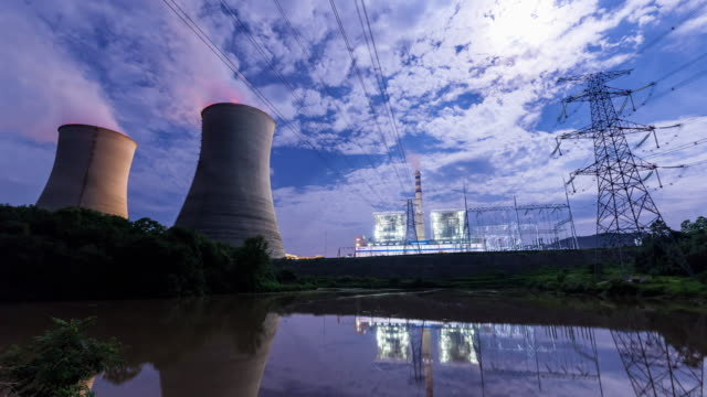 Time delay photography of thermal power plant