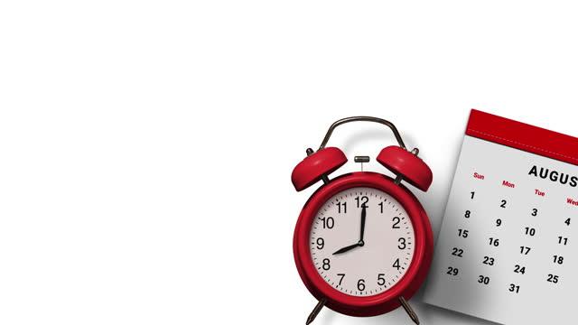 光陰矢の如し。白い背景に毎年カレンダー&目覚まし時計 - 六月点の映像素材/bロール