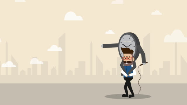 time is controlling businessman to walk along the way (business concept cartoon) - pressure point stock videos & royalty-free footage