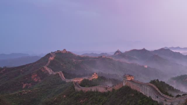 time lapes-sunrise of jinshanling great wall - surrounding wall stock videos & royalty-free footage