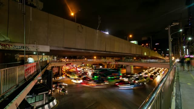 4k time laps night traffic jam long exposure many car lat phrao road in rush hour after worker worked, cityscape bangkok thailand. - personal land vehicle stock videos & royalty-free footage