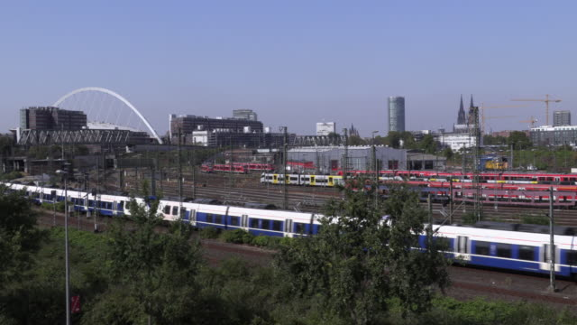 time laps of train depot in cologne - signal box stock videos & royalty-free footage