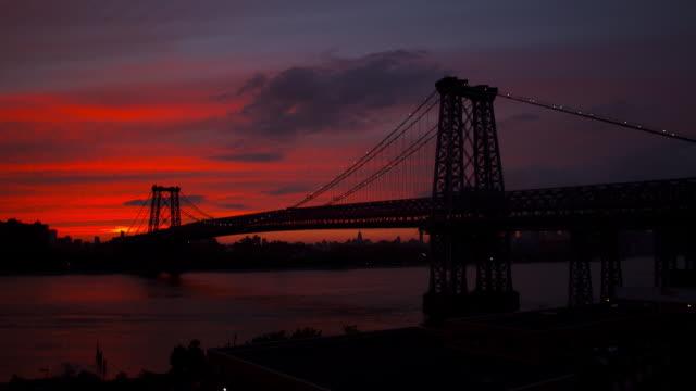 Time laps wide shot of Williamsburg Bridge at sunset