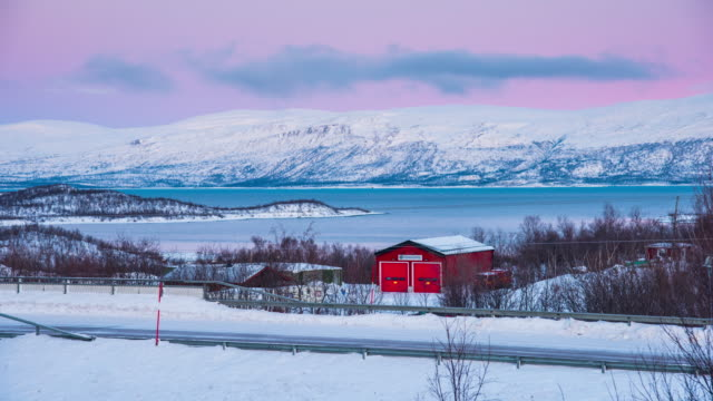 Time Lapse 4K: Red House In The Snow, Abisko National Park, Sweden