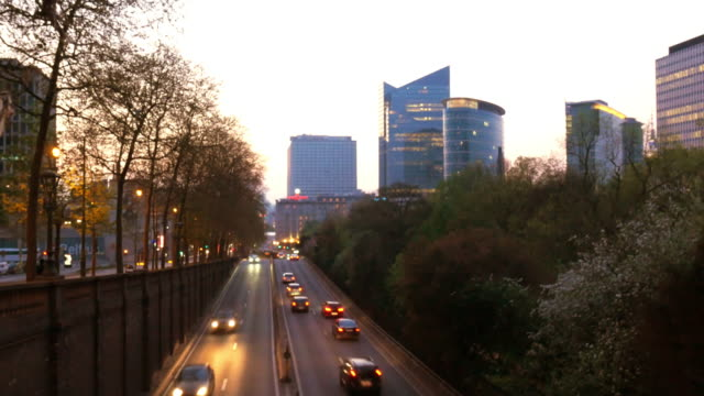 Time lapse 4k video of traffic and skyline in Brussels, Belgium