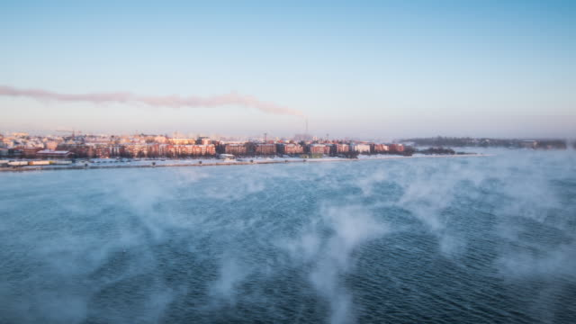 time lapse 4k : view from cruise ship silja line travel in the morning to helsinki, finland - helsinki video stock e b–roll