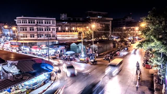 time lapse 4k warorot market is a historical and spiritual landmark of chiang mai, thailand. - chiang mai city stock videos and b-roll footage