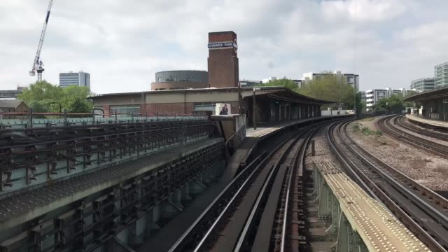 Time lapse a tube train going through stations overland from the drivers cabin on the D stock tube train on the District Line on May 7 2017 in London...