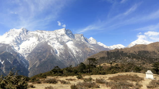 time lapse above namche bazaar in nepal - khumbu stock videos and b-roll footage