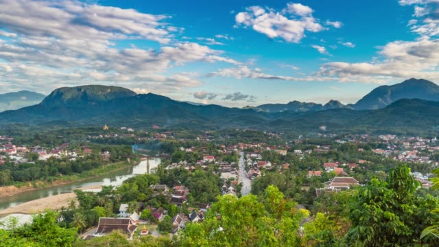 4K Time lapse : Above viewpoint at Luang Prabang, Laos.