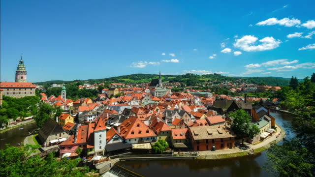 4K Time lapse : Aerial Cesky Krumlov old Town at dusk Czech Republic