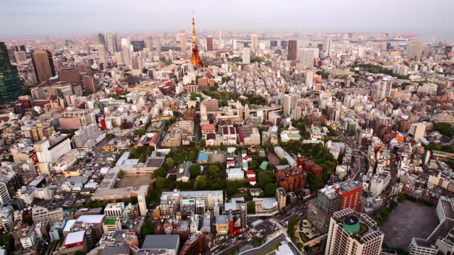 time lapse aerial over tokyo tower and minato ward / day to dusk / tokyo, japan - day to dusk stock videos & royalty-free footage