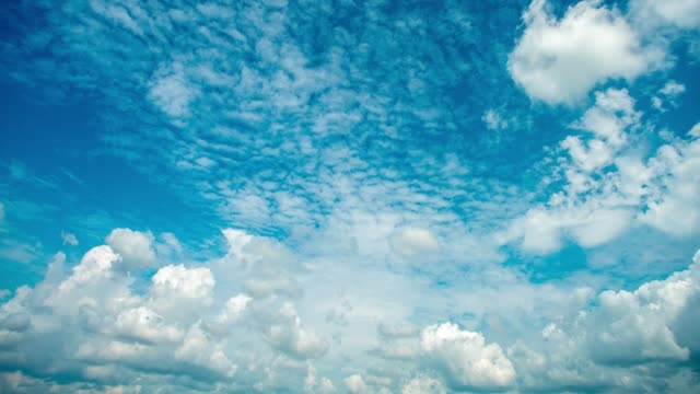 time lapse aerial shot of clouds rolling over blue sky - rolling stock videos & royalty-free footage