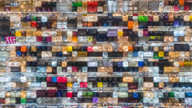 4k time lapse : aerial top view colourful night market for shopping in bangkok, thailand. - souvenir stock videos & royalty-free footage