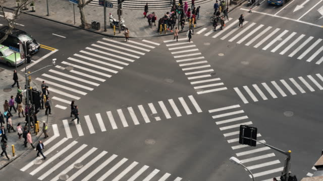 Time Lapse Aerial View of a Crossroad / shanghai, China