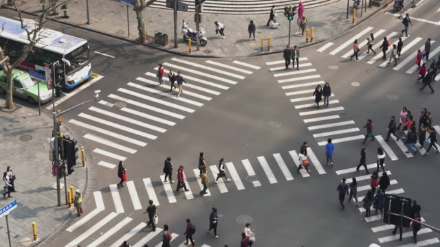 低速度撮影の航空写真、十字路/上海,中国 - 十字路点の映像素材/bロール