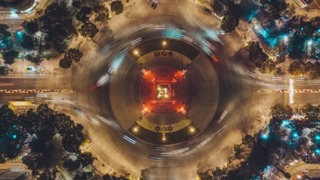 time lapse aerial view of angel de la independencia in reforma avenue, mexico city - roundabout stock videos & royalty-free footage
