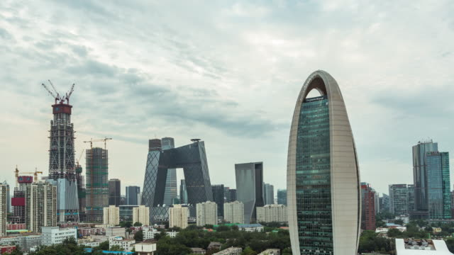 time lapse- aerial view of beijing cbd area (ms ha zo) - international landmark stock videos & royalty-free footage
