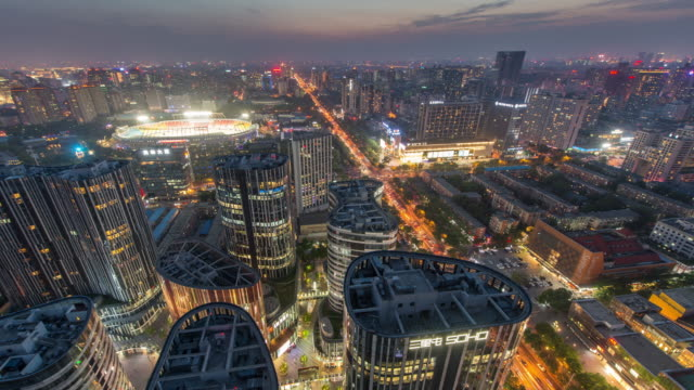 Time Lapse- Aerial View of Beijing CBD, Sanlitun SOHO at Night (WS RL Pan)