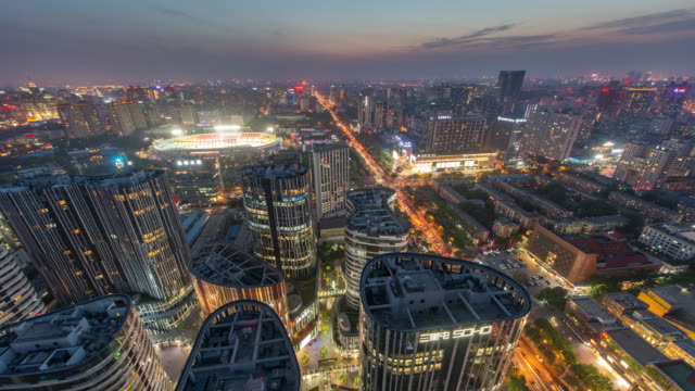 Time Lapse- Aerial View of Beijing CBD, Sanlitun SOHO at Night
