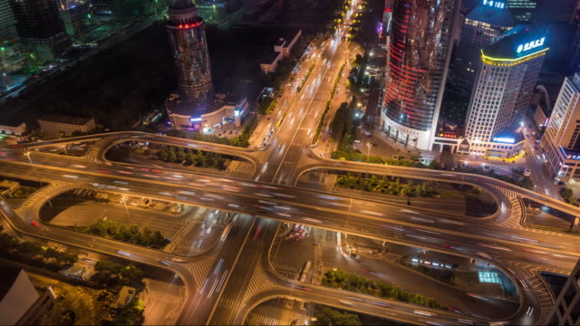 Time Lapse- Aerial View of Beijing Road Intersection at Night (WS RL Pan)